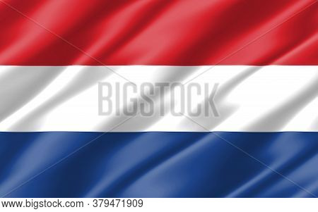 Silk Wavy Flag Of Netherlands Graphic. Wavy Dutch Flag 3d Illustration. Rippled Netherlands Country