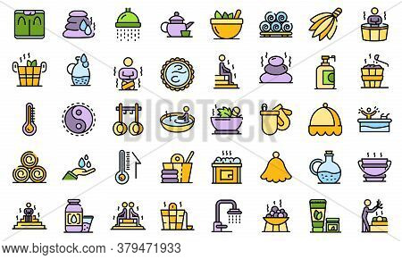 Sauna Icons Set. Outline Set Of Sauna Vector Icons Thin Line Color Flat On White