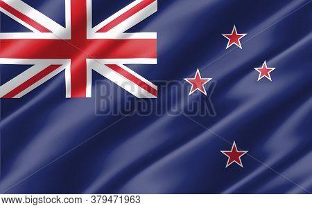 Silk Wavy Flag Of New Zealand Graphic. Wavy New Zealander Flag 3d Illustration. Rippled New Zealand