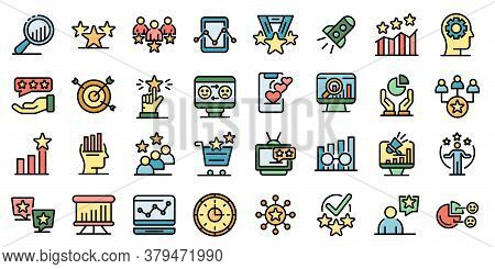 Reputation Icons Set. Outline Set Of Reputation Vector Icons Thin Line Color Flat On White