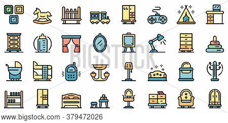 Childrens Room Icons Set. Outline Set Of Childrens Room Vector Icons Thin Line Color Flat On White