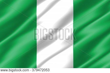 Silk Wavy Flag Of Nigeria Graphic. Wavy Nigerian Flag 3d Illustration. Rippled Nigeria Country Flag