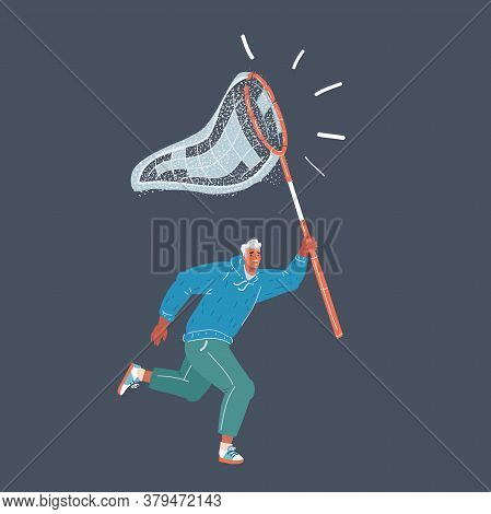 Vector Illustration Of Man Trying To Catch Money Something With Batterfly Net. Human Character On Da