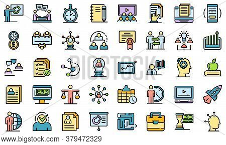 Business Training Icons Set. Outline Set Of Business Training Vector Icons Thin Line Color Flat On W