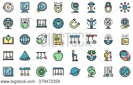 Newtons Day Icons Set. Outline Set Of Newtons Day Vector Icons Thin Line Color Flat On White