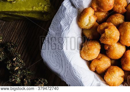 Churros Balls Spanish Donuts From Medical Cannabis Butter, Sugar, Flour, Egg. Marijuana Buds. Medica