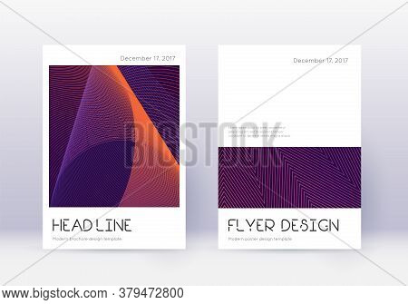 Minimal Cover Design Template Set. Violet Abstract Lines On Dark Background. Dramatic Cover Design.