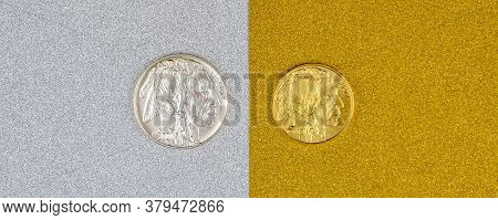 Silver And Golden American Buffalo One Ounce Coins Laying On Silver And Golden Background, Image Spl