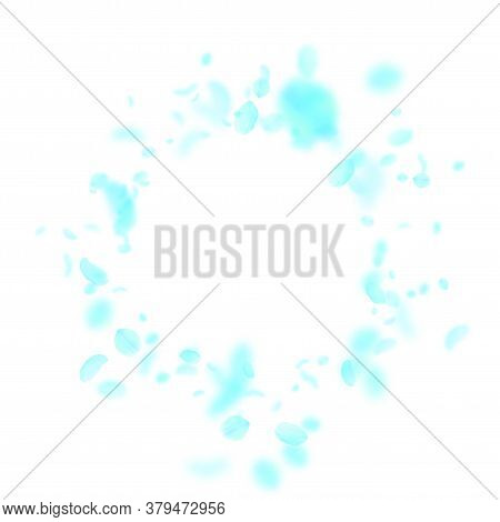 Turquoise Flower Petals Falling Down. Neat Romantic Flowers Vignette. Flying Petal On White Square B
