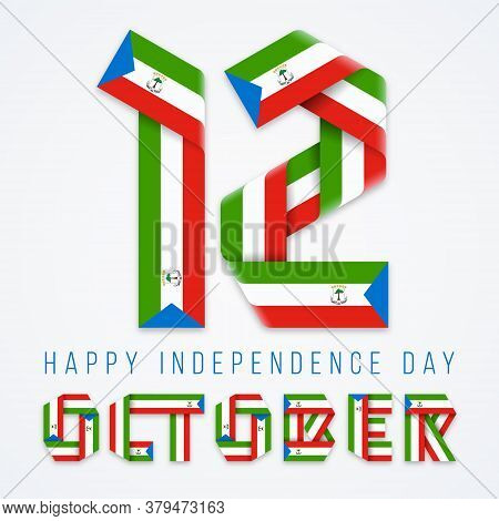 Congratulatory Design For October 12, Independence Day Of Equatorial Guinea. Text Made Of Bended Rib