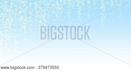 Magic Stars Sparse Christmas Background. Subtle Flying Snow Flakes And Stars On Winter Sky Backgroun