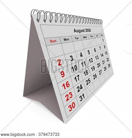 One Page Of The Annual Monthly Calendar - Month August 2020. 3d Rendering