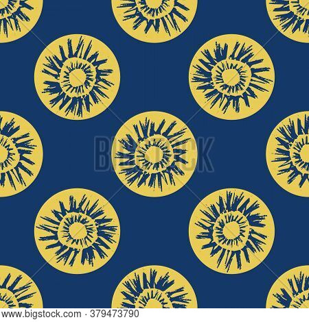 Vector Ethnic And Tribal Motifs Seamless Pattern Background. Yellow Painterly Grunge Style Sun Symbo