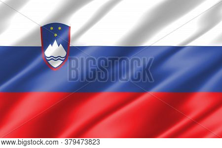 Silk Wavy Flag Of Slovenia Graphic. Wavy Slovenian Flag 3d Illustration. Rippled Slovenia Country Fl