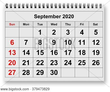 One Page Of The Annual Monthly Calendar - Month September 2020