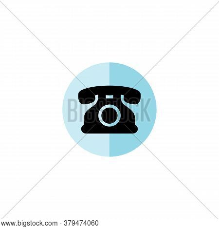 Telephone Icon With Colored Circle Isolated On White Background. Telephone Icon Trendy And Modern Te