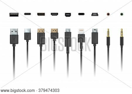 Cable Wire. Device Charging And Connection Mobile Socket Plug And Cable Illustration. Vector Apple L