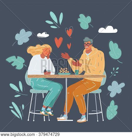 Vector Illustration Of Lady Being Annoyed With Her Boyfriend Talking In The Middle Of The Date On Da