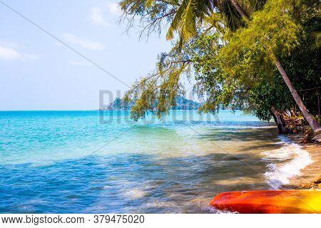Thailand Tropical Coastline And Kayak Boat. Beautiful Asian Sea Landscape. Holidays Abroad