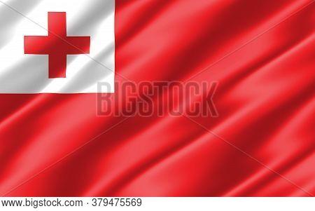 Silk Wavy Flag Of Tonga Graphic. Wavy Tongan Flag 3d Illustration. Rippled Tonga Country Flag Is A S