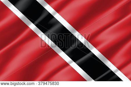 Silk Wavy Flag Of Trinidad And Tobago Graphic. Wavy Trinidadian And Tobagonian Flag 3d Illustration.