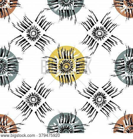 Vector Tribal Motifs Seamless Pattern Background. Backdrop Of Grunge Style Sun Symbol Within Square