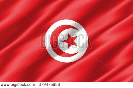 Silk Wavy Flag Of Tunisia Graphic. Wavy Tunisian Flag 3d Illustration. Rippled Tunisia Country Flag