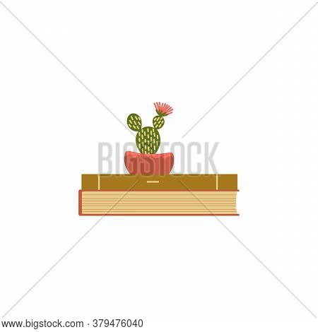 The Books Are Stacked Like A Cactus In A Pot . Flat Interior Design, Vector Illustration. A Design T