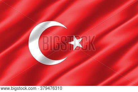 Silk Wavy Flag Of Turkey Graphic. Wavy Turkish Flag 3d Illustration. Rippled Turkey Country Flag Is