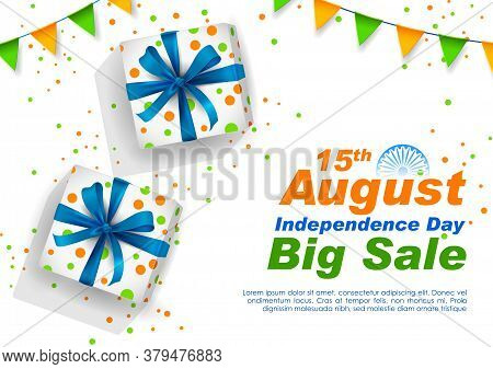 Illustration Of Gift Box In Indian Tricolor For15th August Happy Independence Day Of India Sale Prom