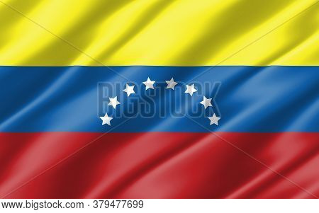 Silk Wavy Flag Of Venezuela Graphic. Wavy Venezuelan Flag 3d Illustration. Rippled Venezuela Country