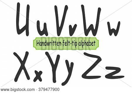 Handwritten Alphabet For Different Print Design. Latin Uppercase And Lowercase Hand-drawn Lettering.