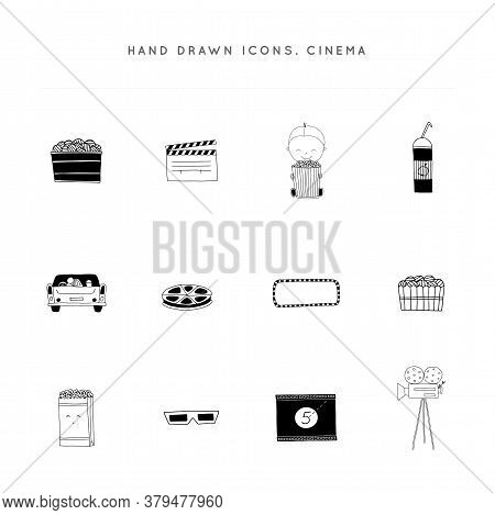 Cinema Isolated Objects, Cinematography Illustrations And Logo Elements. Set Of Vector Hand Drawn Ic