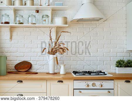 Kitchen Interior With Kitchen Utensils And Kitchen Stove. Scandi Style.