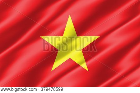 Silk Wavy Flag Of Vietnam Graphic. Wavy Vietnamese Flag 3d Illustration. Rippled Vietnam Country Fla