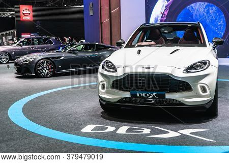 Bangkok, Thailand, August 5, 2020 - White Color Aston Martin Dbx Luxury Suv Car Displayed In Bangkok