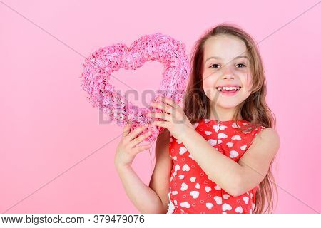 Sweetheart Child With Long Hair Smiling In Red Dress