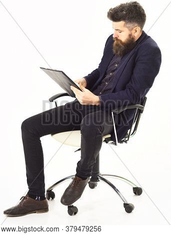 Ceo And Management Concept. Ceo Sits In Boss Chair And Checks Project Plan
