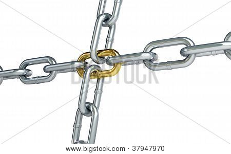 Chrome Chain With A Gold Link On White Background