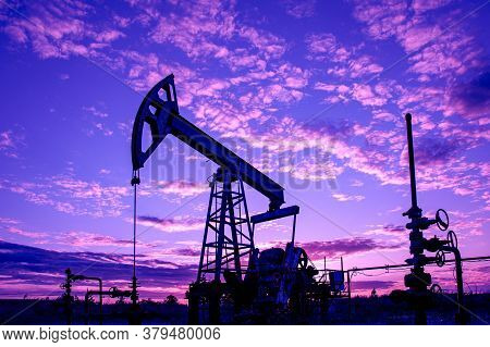 Petroleum Concept. Oil Pump Rig. Oil And Gas Production. Oilfield Site. Pump Jack Are Running. Drill