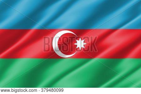 Silk Wavy Flag Of Azerbaijan Graphic. Wavy Azerbaijani Flag 3d Illustration. Rippled Azerbaijan Coun