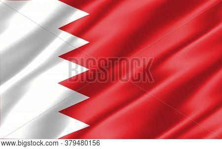 Silk Wavy Flag Of Bahrain Graphic. Wavy Bahraini Flag 3d Illustration. Rippled Bahrain Country Flag