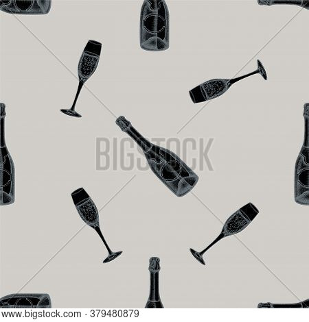 Seamless Pattern With Hand Drawn Stylized Champagne, Glass Of Champagne Stock Illustration