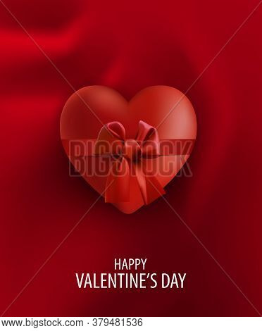 Red Silk Drapery Textile Background With Red Heart And Bow. Happy Valentine's Day Card
