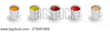 Realistic 3d Cup Of Hot Aromatic Tea Set. A Teacup With Rooibos, Green, Black, Herbal, Red Tea, Indi