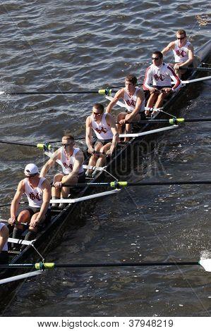 Boston College High School races in the Head of Charles Regatta
