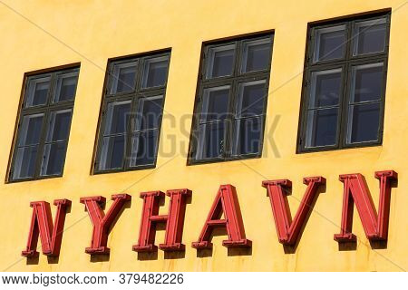 Nyhavn Sign On A Wall In Copenhagen, Denmark