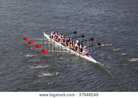 BOSTON - OCTOBER 21: St Josephs Preparatory School races in the Head of Charles Regatta, Marin Rowin
