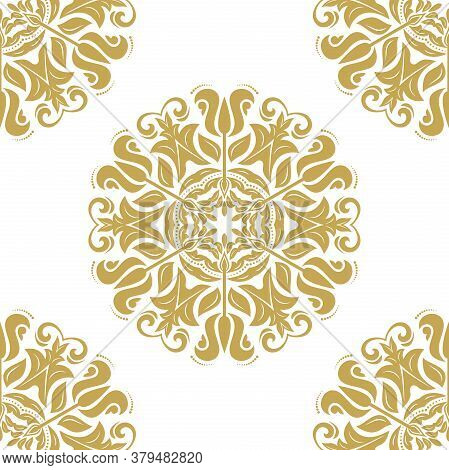 Orient Vector Classic Golden Pattern. Seamless Abstract Background With Vintage Elements. Orient Bac