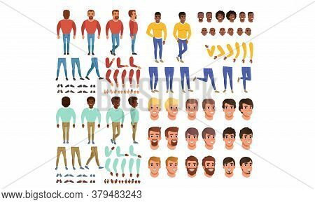 Male Characters Creation Set, Guy Constructor With Various Views, Face Emotions, Poses Cartoon Style